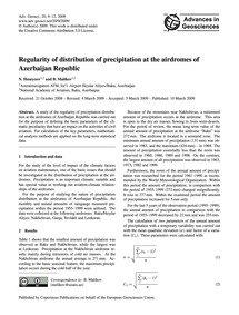 Regularity of Distribution of Precipitat... by Huseynov, N.