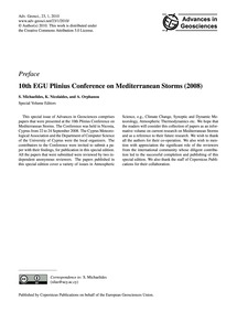 Preface 10Th Egu Plinius Conference on M... by Michaelides, S.