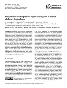 Precipitation and Temperature Regime Ove... by Giannakopoulos, C.