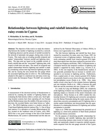 Relationships Between Lightning and Rain... by Michaelides, S.