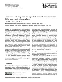 Microwave Scattering from Ice Crystals: ... by Teschl, F.