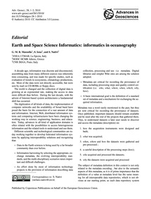 Editorial Earth and Space Science Inform... by Manzella, G. M. R.