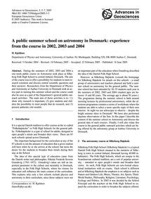 A Public Summer School on Astronomy in D... by Kjeldsen, H.