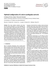 Optimal Configuration of a Micro-earthqu... by Valtonen, O.