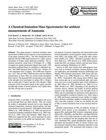 A Chemical Ionization Mass Spectrometer ... by Benson, D. R.