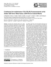 Continuous Low-maintenance Co2/Ch4/H2O M... by Winderlich, J.
