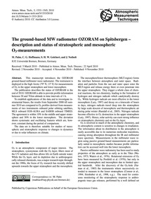 The Ground-based Mw Radiometer Ozoram on... by Palm, M.