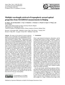 Multiple Wavelength Retrieval of Troposp... by Clémer, K.