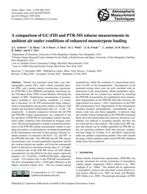 A Comparison of Gc-fid and Ptr-ms Toluen... by Ambrose, J. L.