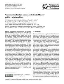 Assessments of Urban Aerosol Pollution i... by Chubarova, N. Y.
