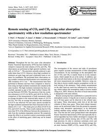 Remote Sensing of Co2 and Ch4 Using Sola... by Petri, C.