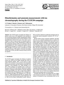 Dimethylamine and Ammonia Measurements w... by Praplan, A. P.