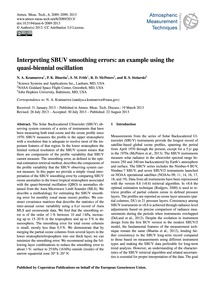 Interpreting Sbuv Smoothing Errors: an E... by Kramarova, N. A.