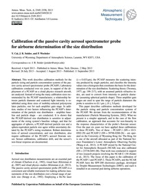 Calibration of the Passive Cavity Aeroso... by Cai, Y.