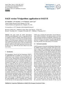 Sage Version 7.0 Algorithm: Application ... by Damadeo, R. P.