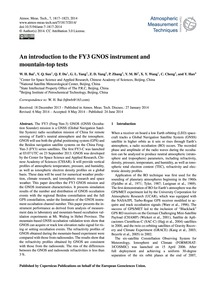 An Introduction to the Fy3 Gnos Instrume... by Bai, W. H.