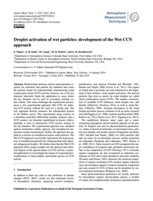 Droplet Activation of Wet Particles: Dev... by Nakao, S.