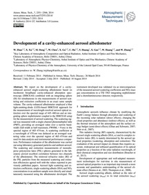 Development of a Cavity-enhanced Aerosol... by Zhao, W.
