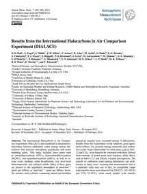Results from the International Halocarbo... by Hall, B. D.