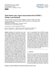 Total Column Water Vapour Measurements f... by Grossi, M.