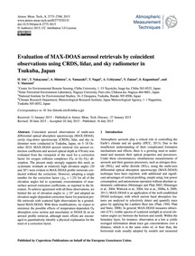Evaluation of Max-doas Aerosol Retrieval... by Irie, H.