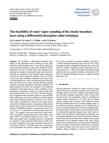 The Feasibility of Water Vapor Sounding ... by Lebsock, M. D.