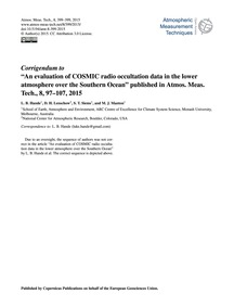 Corrigendum to an Evaluation of Cosmic R... by Hande, L. B.