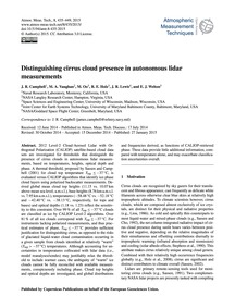 Distinguishing Cirrus Cloud Presence in ... by Campbell, J. R.