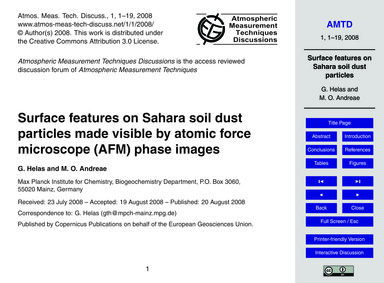 Surface Features on Sahara Soil Dust Par... by Helas, G.