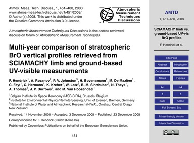Multi-year Comparison of Stratospheric B... by Hendrick, F.
