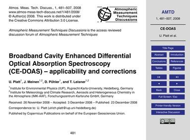 Broadband Cavity Enhanced Differential O... by Platt, U.