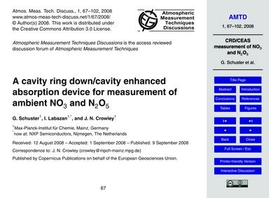 A Cavity Ring Down/Cavity Enhanced Absor... by Schuster, G.