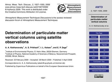 Determination of Particulate Matter Vert... by Kokhanovsky, A. A.