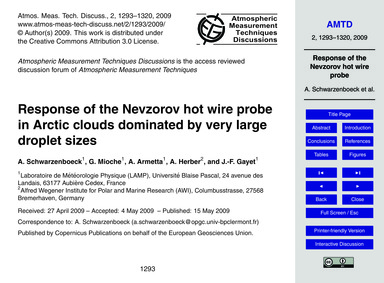 Response of the Nevzorov Hot Wire Probe ... by Schwarzenboeck, A.