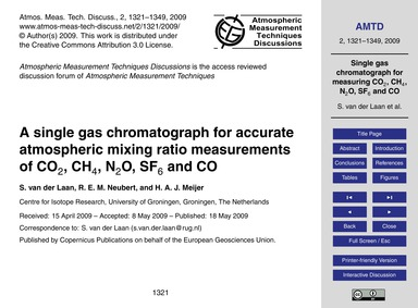 A Single Gas Chromatograph for Accurate ... by Van Der Laan, S.