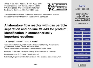 A Laboratory Flow Reactor with Gas Parti... by Bennett, J. F.