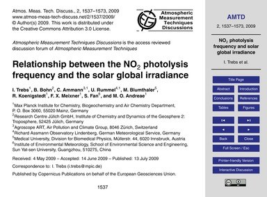 Relationship Between the No2 Photolysis ... by Trebs, I.