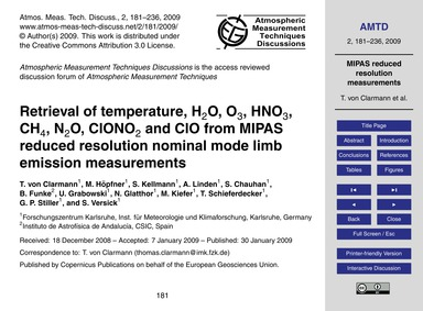Retrieval of Temperature, H2O, O3, Hno3,... by Von Clarmann, T.