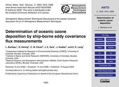 Determination of Oceanic Ozone Depositio... by Bariteau, L.