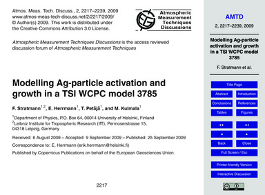 Modelling Ag-particle Activation and Gro... by Stratmann, F.