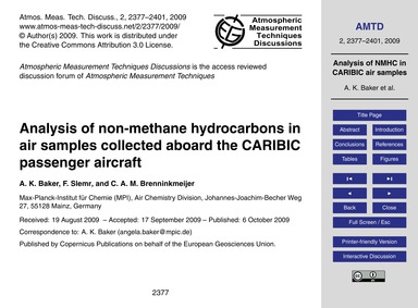 Analysis of Non-methane Hydrocarbons in ... by Baker, A. K.