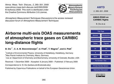 Airborne Multi-axis Doas Measurements of... by Dix, B.