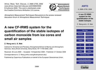 A New Cf-irms System for the Quantificat... by Wang, Z.