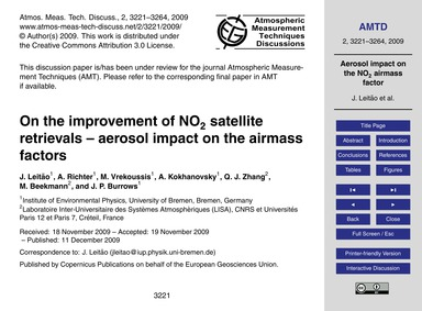 On the Improvement of No2 Satellite Retr... by Leitão, J.