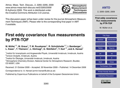 First Eddy Covariance Flux Measurements ... by Müller, M.