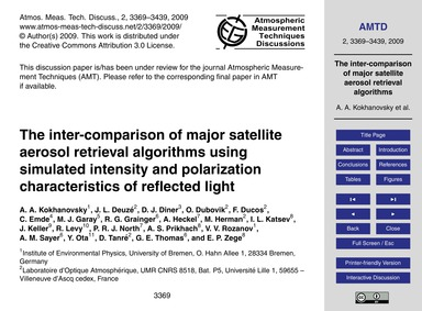 The Inter-comparison of Major Satellite ... by Kokhanovsky, A. A.