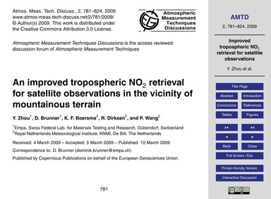 An Improved Tropospheric No2 Retrieval f... by Zhou, Y.