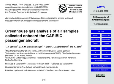 Greenhouse Gas Analysis of Air Samples C... by Schuck, T. J.