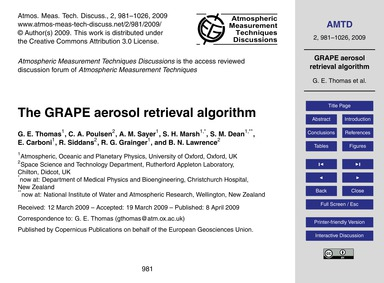 The Grape Aerosol Retrieval Algorithm : ... by Thomas, G. E.