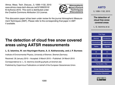 The Detection of Cloud Free Snow Covered... by Istomina, L. G.
